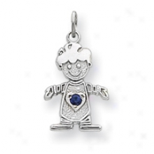 14k White Gold Cz September Boy Birthstone Charm