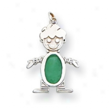 14k White Gold Emerald Boy Birthstone Charm