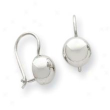 14k White Gold Kidney Wire Bakl Earrings