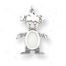14k White Gold Opal Girl Birthstone Charm
