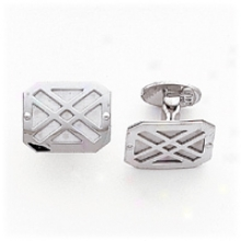 14k White Gold Polished Grooved-design Cuff Links