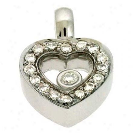 14k White Heart 0.2 Ct Diamond Pendant