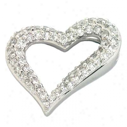 14k White Heart 0.55 Ct Diamond Pendant