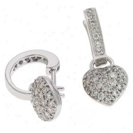 14k White Heart 0.57 Ct Diamond Earrings