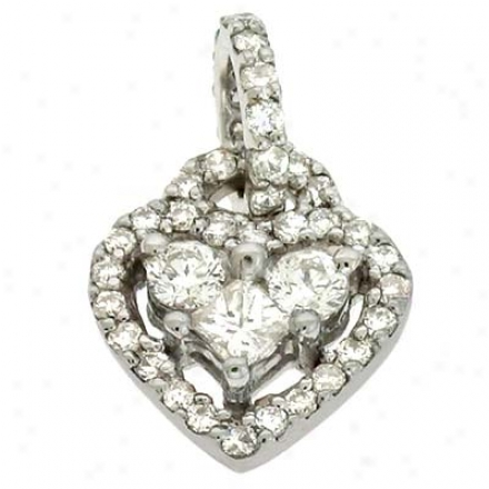 14k White Heart 0.7 Ct Diamond Pendant