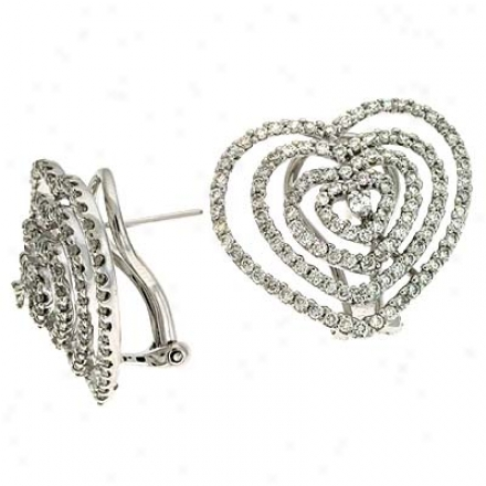 14k White Heart 1.84 Ct Diamond Earrings