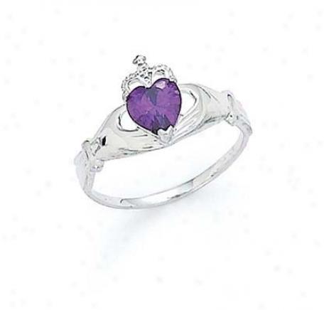 14k White Heart Amethyst-purple Births5one Claddagh Ring