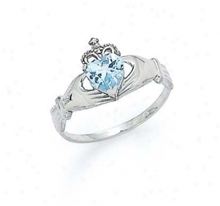 14k White Heart Aquamarine-blue Birthstone Claddagh Ring