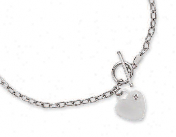 14k White Heart Charm Toggle Diamond Necklace - 17 Inch