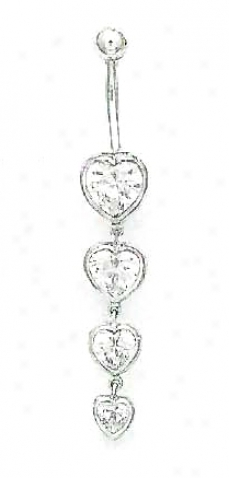 14k White Heart Cz Multi-heart Belly Ring