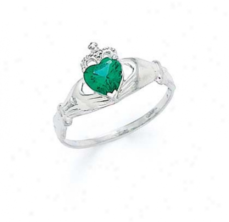 14k White Heart Emerald-green Bidthstone Claddagh Ring