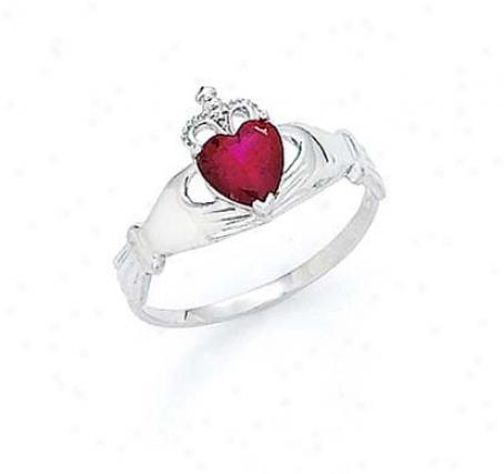 14k White Heart Garnet-red Birthstone Claddagh Ring