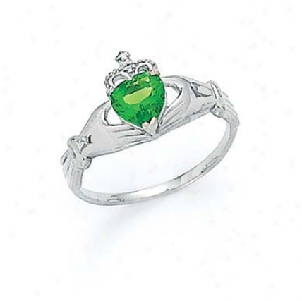 14k White Heart Peridot-green Birthstone Claddagh Ring