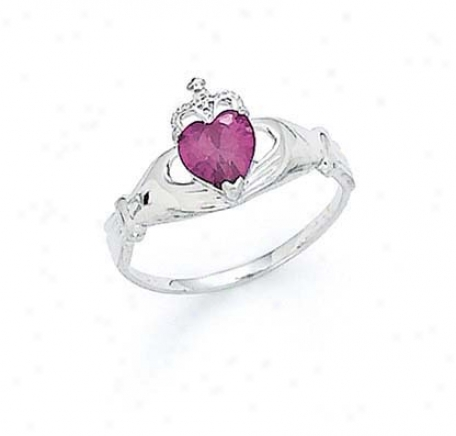 14k White Heart Rhodolite-pink Birthsyone Claddagh Ring