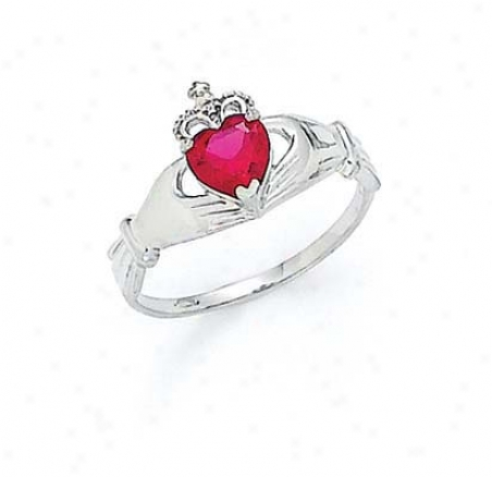 14k White Heart Ruby-red Birthstone Claddagh Ring