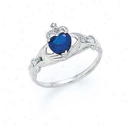 14k White Disposition Sapphire-blue Birthstone Claddagh Ring