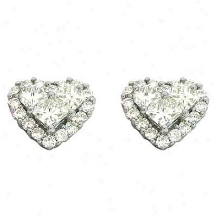 14k White Heart Shape 1.37 Ct Diamond Earrings