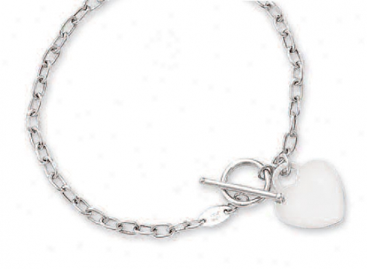 14k White Heart Shaped And Toggle Bracelet - 7.5 Inch