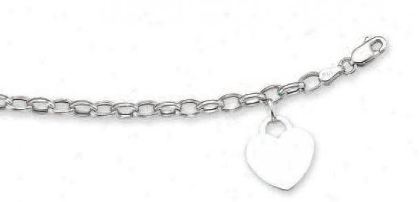 14k White Heart Shaped Charm Bracelet - 7.5 Inch