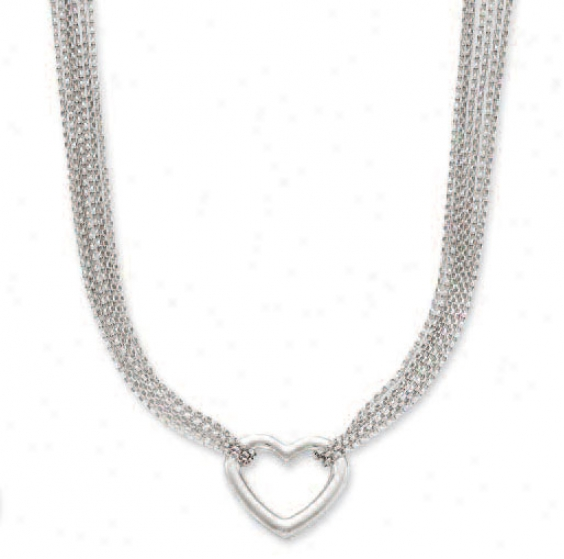 14k White Heart Shaped Necklace - 17 Inch