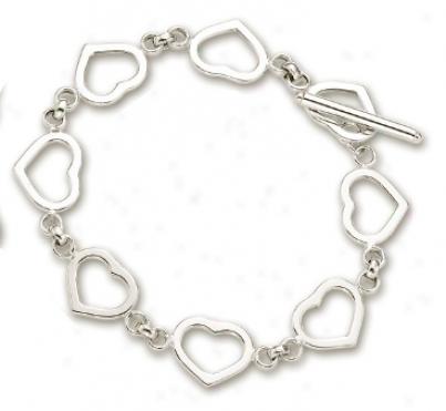 14k White Heart Shaped Station Bracelet - 7.5 Inch