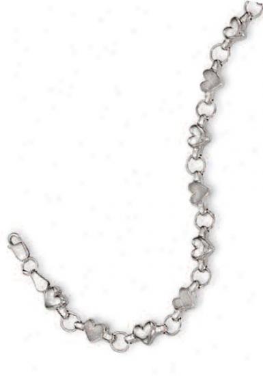 14k White Heart Shaped Station Childrens Bracelet - 6 Inch