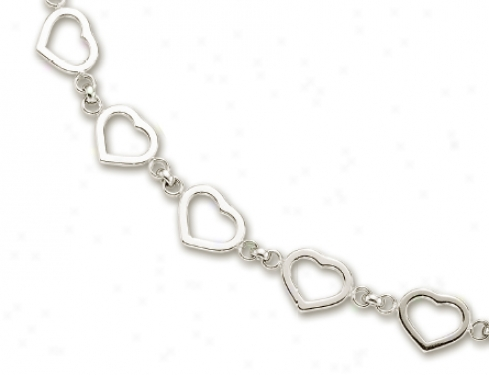 14k White Heart Shaped Station Necklace - 17 Inch