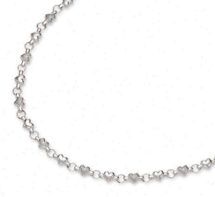14k White Heart Shaped Station Necklace - 18 Inch