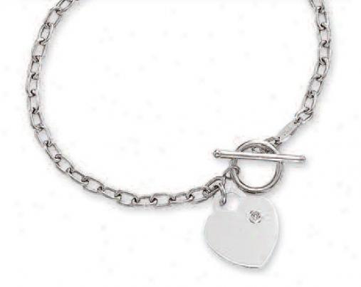 14k White Heart Shaped Toggle Diamond Bracelet - 7.5 Inch