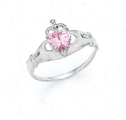 14k White Heart Topaz-pink Birthstone Claddagh Ring