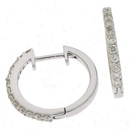 14k White Hinged 0.35 Ct Diamond Earrings