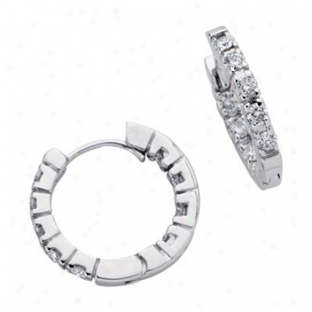 14k White Hinged 0.96 Ct Diamond Earrings
