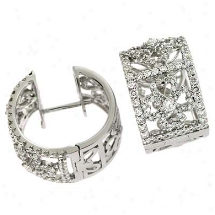 14k White Hinged 2.09 Ct Diamond Earrings