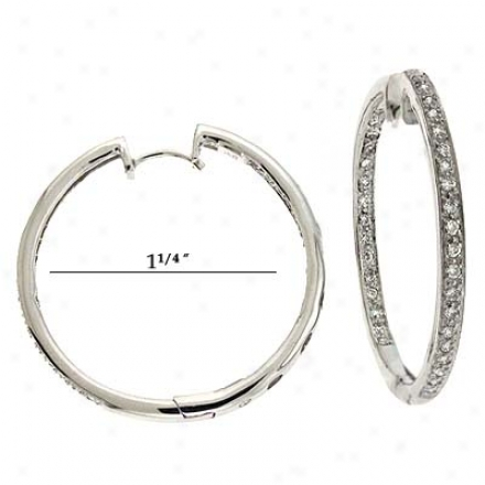 14k White Hinged Hoop 0.7 Ct Diamond Earrings