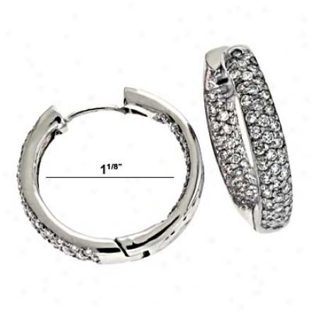 14k Pure Hinged Hoop 1.777 Ct Diamond Earrings