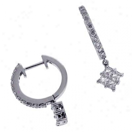 14k Whiye Hoop 0.73 Ct Diamond Earrings