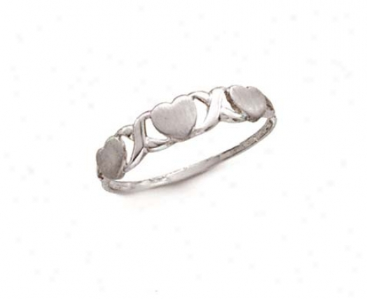 14k White Hugs Kisses Ring