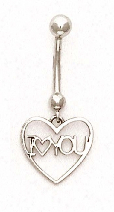 14k White I Love You Belly Ring