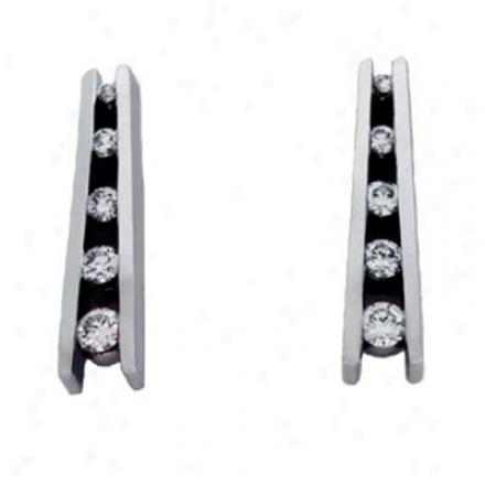 14k White Journey 0.51 C Diamond Earrings