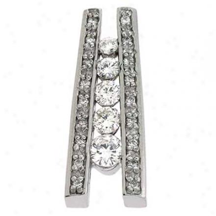 14k White Journey 0.73 Ct Diamond Pendant