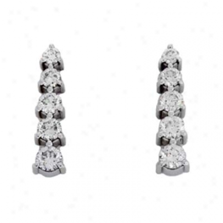 14k White Journey 1.01 Ct Diamond Earrings