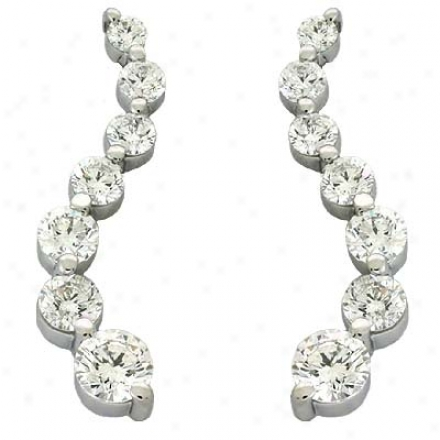 14k White Journey 2 Ct Diamond Earrings