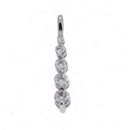 14k White Journey Attraction 0.26 Ct Diamond Pendant
