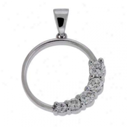 14k White Journey Charm 0.52 Ct Diamond Pendant