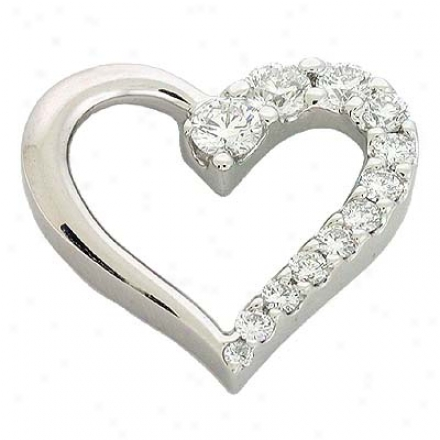 14k Happy Journey Heart 1.04 Ct Diamond Pendant