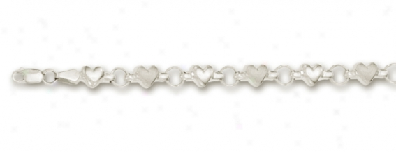 14k White Large Rolo And Puffed Heart Station Anklet - 10 In