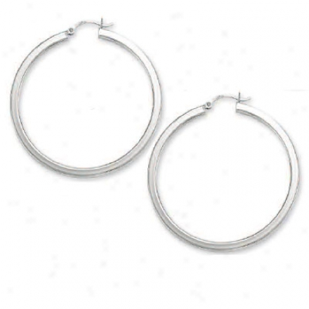 14k White Large Tubular Hoop Earrings