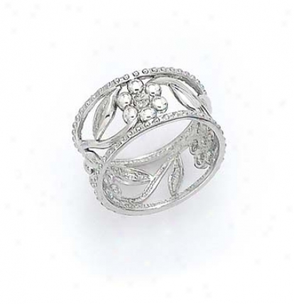 14k White Laser Flower Ring