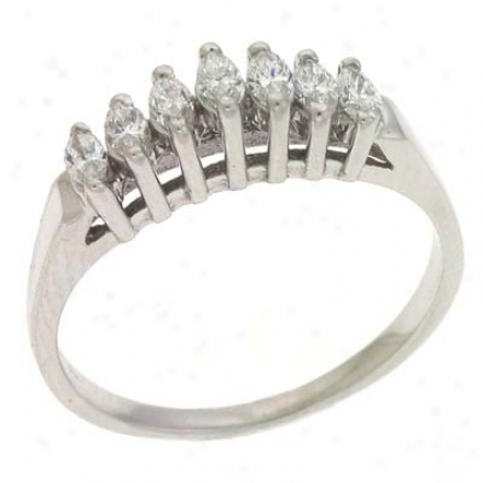 14k White Marquee 0.33 Ct Diamond Band Ring