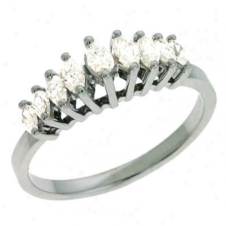 14k White Marquise 0.45 Ct Diamond Band Ring